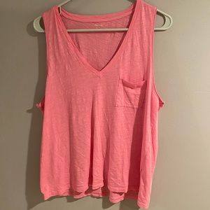 Madewell pink v neck tank top